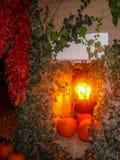 De scène van dalingssanta fe met pompoenen en chiles Stock Foto