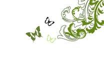 De scène van de aard met bloem en vlinder Stock Afbeeldingen