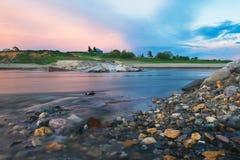 De scène van de avond op rivier Royalty-vrije Stock Foto's