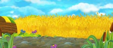 De scène van de beeldverhaalaard - landbouwbedrijfgebieden - leeg stadium voor verschillend gebruik vector illustratie