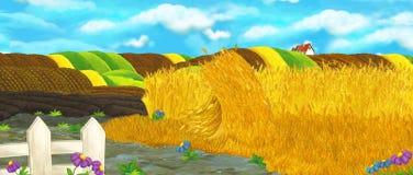 De scène van de beeldverhaalaard - landbouwbedrijfgebieden - leeg stadium voor verschillend gebruik royalty-vrije illustratie