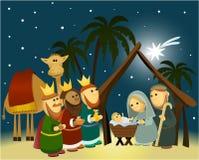 De scène van de beeldverhaalgeboorte van christus met heilige familie Stock Foto