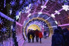 De scène van de de winterstraat van Moskou, Rusland Stock Foto