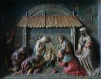 De Scène van de geboorte van Christus stock afbeelding