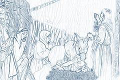 De scène van de geboorte van Christus Royalty-vrije Stock Foto