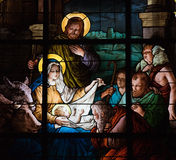 De Scène van de geboorte van Christus Stock Foto's