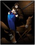 De scène van de geboorte van Christus. Royalty-vrije Stock Afbeeldingen