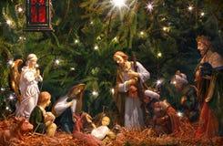 De scène van de geboorte van Christus Bewondering van magi Stock Afbeeldingen