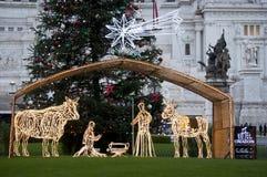 De scène van de geboorte van Christus bij Piazza Venezia Royalty-vrije Stock Foto's
