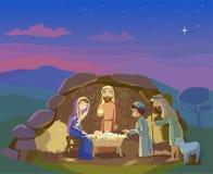 De scène van de geboorte van Christus Feest van Kerstmis Stock Afbeeldingen