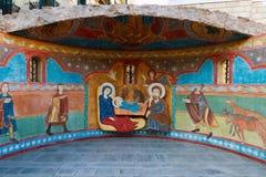 De scène van de geboorte van Christus; Jesus-Christus, Mary en Josef Royalty-vrije Stock Afbeeldingen