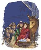 De scène van de geboorte van Christus met Heilige Familie stock illustratie