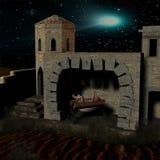 De scène van de geboorte van Christus met stal Royalty-vrije Stock Afbeeldingen