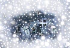 De scène van de Geboorte van Christus van de kerstkaart Stock Foto