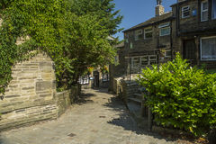 De scène van de Haworthstraat, West-Yorkshire, Engeland Royalty-vrije Stock Fotografie