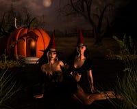 De Scène van de Heksen van Halloween Royalty-vrije Stock Fotografie