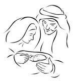 De scène van de Kerstmisgeboorte van christus stock illustratie