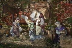 De scène van de Kerstmisgeboorte van christus in Brooklyn New York royalty-vrije stock afbeelding