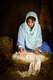 De scène van de Kerstmisgeboorte van christus met pop Royalty-vrije Stock Afbeeldingen