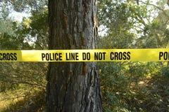 De scène van de misdaad in het bos stock foto