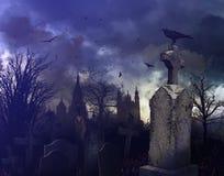 De scène van de nacht in een griezelig kerkhof Royalty-vrije Stock Afbeeldingen