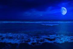 De scène van de nacht in een verlaten strand Stock Foto's