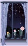 De scène van de nacht met drie bloeiende cactussen royalty-vrije illustratie