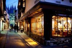 De scène van de nacht met de kathedraal van Canterbury Royalty-vrije Stock Foto's