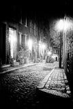 De scène van de nacht in oud Boston Massachusetts stock foto's