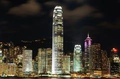 De scène van de nacht van cityscape van Hongkong Stock Afbeeldingen