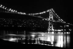 De scène van de nacht van de Hangbrug van de Poort van Leeuwen Stock Foto's