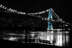 De scène van de nacht van de Hangbrug van de Poort van Leeuwen Stock Fotografie