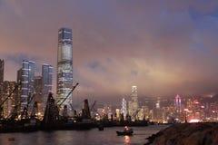 De scène van de nacht van Hongkong Stock Foto's