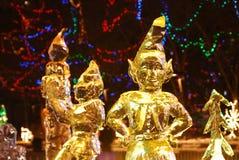 De scène van de nacht van ijsbeeldhouwwerk Royalty-vrije Stock Afbeeldingen