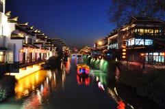 De scène van de nacht van rivier Qinhui in Nanjing China Stock Foto's