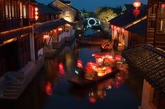 De scène van de nacht in Zhouzhuang Stock Afbeeldingen