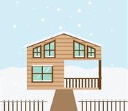 De scène van de onroerende goederenwinter Huis, plattelandshuisje, huis in de stad, zoete huis vectorillustratie royalty-vrije illustratie