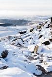De scène van de plattelandssneeuw in de winter Stock Afbeelding