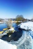 De scène van de Rivier van de winter Stock Afbeeldingen