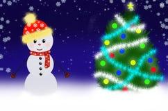 De scène van de sneeuwman Stock Afbeeldingen
