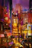 De scène van de stadsnacht met kleurrijke lichten stock afbeelding