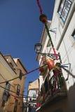 De scène van de straat in Lissabon, Portugal. Royalty-vrije Stock Afbeeldingen