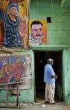 De scène van de straat met kunstenaarswinkel in Kaïro Egypte Stock Fotografie