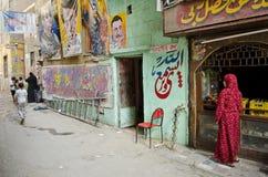 De scène van de straat met kunstenaarswinkel in Kaïro Egypte Stock Afbeeldingen