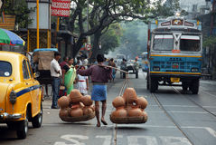 De scène van de straat van Kolkata royalty-vrije stock fotografie