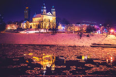 De scène van de Vilniusnacht royalty-vrije stock foto's