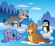 De scène van de winter met diverse dieren 2 Stock Afbeelding