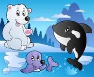 De scène van de winter met diverse dieren 3 royalty-vrije illustratie