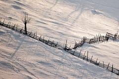 De scène van de winter met houten omheining en boom stock foto's