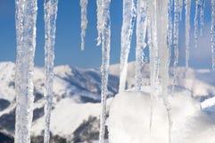 De scène van de winter met ijs en sneeuw Stock Afbeeldingen